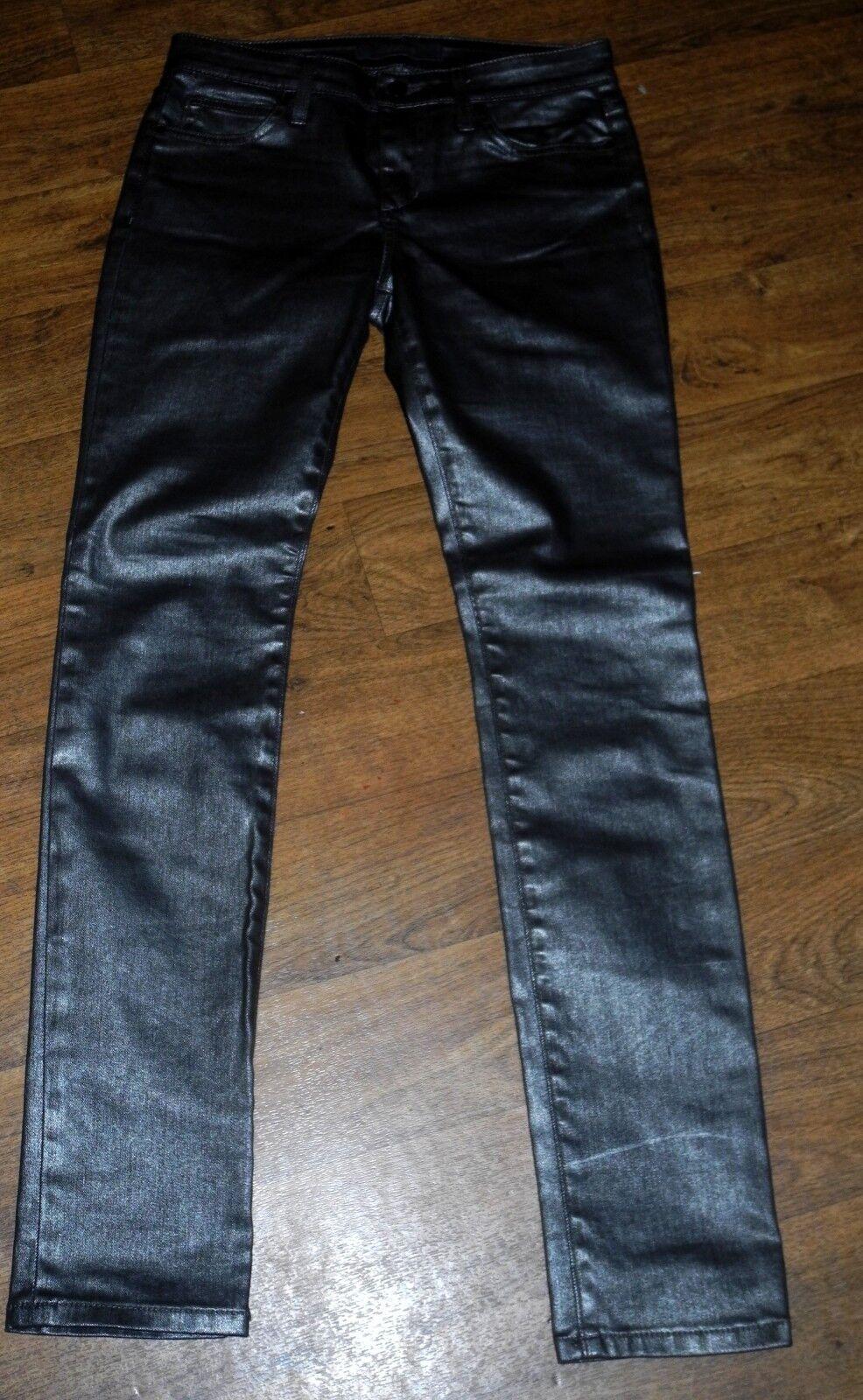 Neu JOE´S Jeans Schmal Mid-Rise Eng Bein Damen Metallisch Silber Hose Sz 27x32