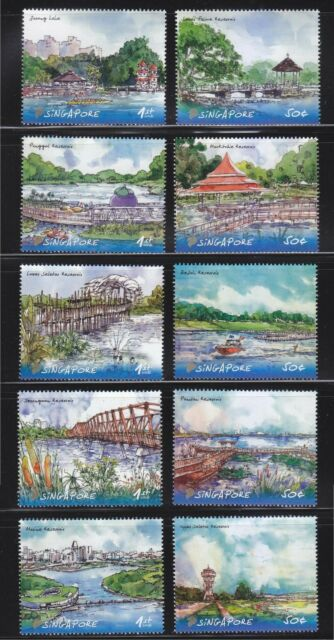 SINGAPORE 2012 RESERVOIRS OF SINGAPORE COMP. SET OF 10 STAMPS IN MINT MNH UNUSED