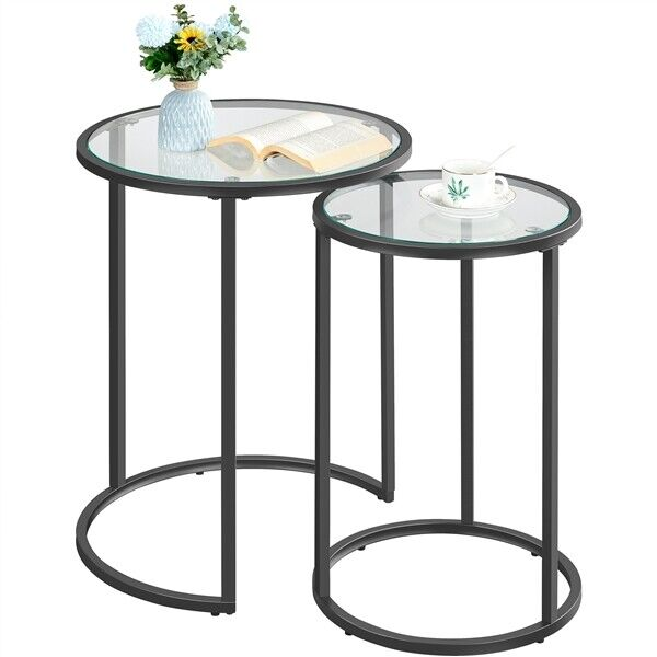 Round Nesting Side Tables End Table Coffee Table w/Metal Frame & Glass Top Black