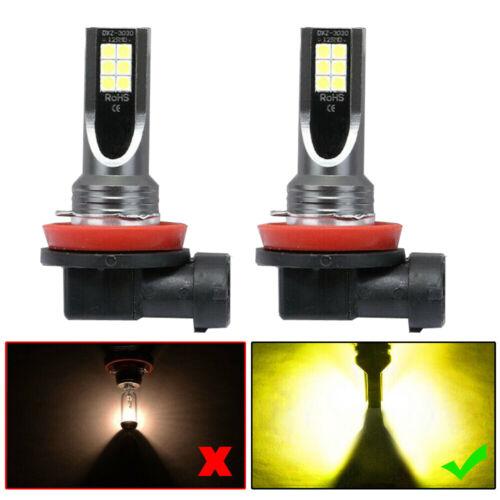 H11 H8 H9 CREE LED Fog Light Conversion Kit Premium Yellow 60W 3000K DRL Lamps