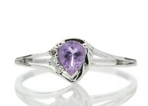 Diamond-And-Pear-Shaped-Amethyst-9ct-White-Gold-Ring-Cert-AGI-FREE-Ship