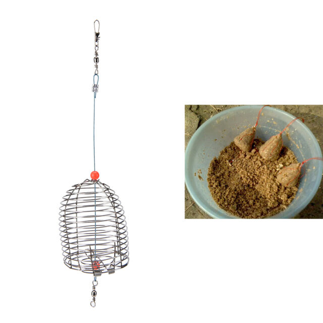 Cage Fishing Trap Basket Feeder Holder Stainless Steel Wire Fishing Lure MD