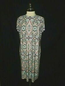 LONDON TIMES Plus Size 1X Shift Dress White Pink Blue Paisley Short Sleeve Midi