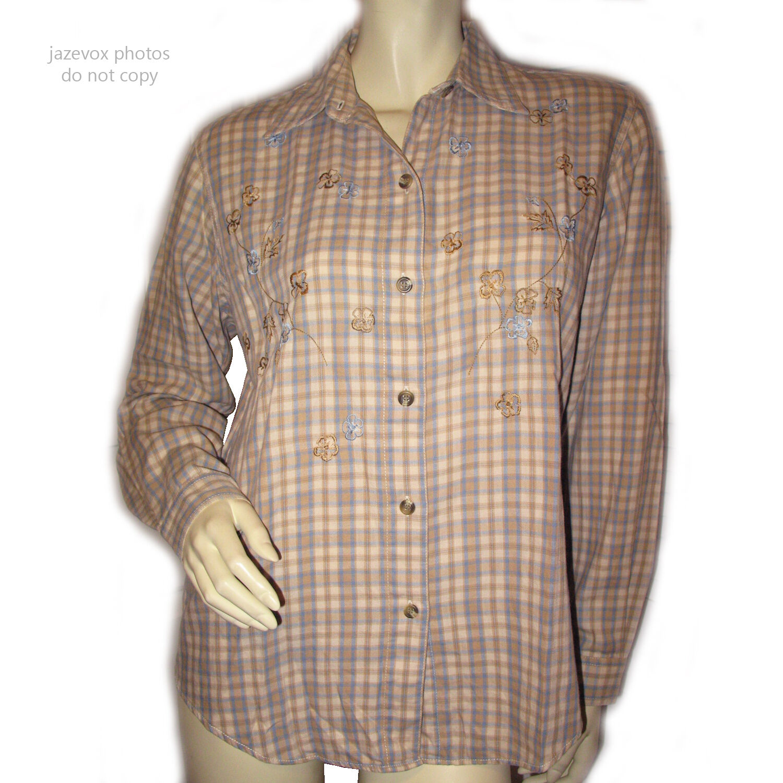 LIZ CLAIBORNE damen Button Down Shirt Top S Check Plaid Long Sleeve Beige braun