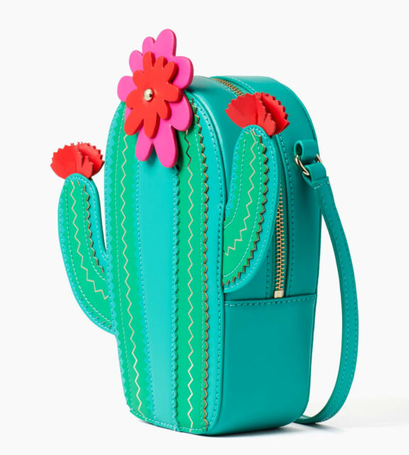 NWT KATE SPADE New Horizons Lizard Green Leather Floral Cactus Crossbody Bag 334706091e890