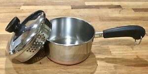 REVERE-WARE-1-Quart-Copper-Bottom-Sauce-Pan-Pot-With-Pour-amp-Strain-Lid-Rome-NY