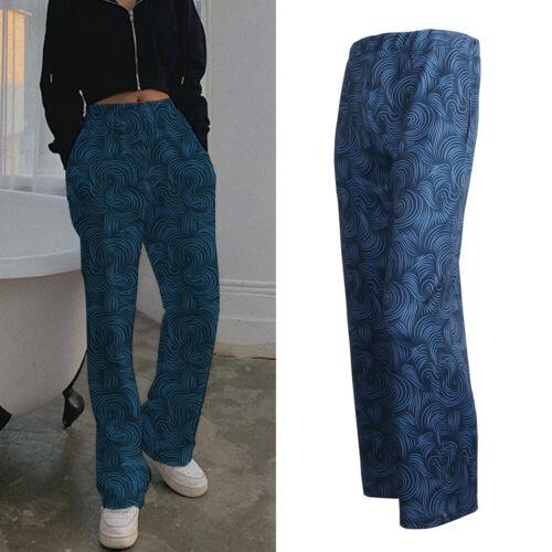 Women Striped Wide Leg Pants Summer Elastic Waist Loose Long Casual Trousers