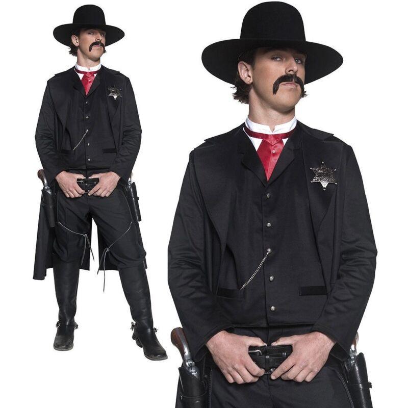 Cowboy Nero Cappotto in pelle Western Sceriffo Costume Cowboy mantellina pistolero