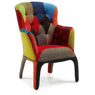 Sedia poltrona interamente foderata in tessuto stoffa Patchwork multicolore