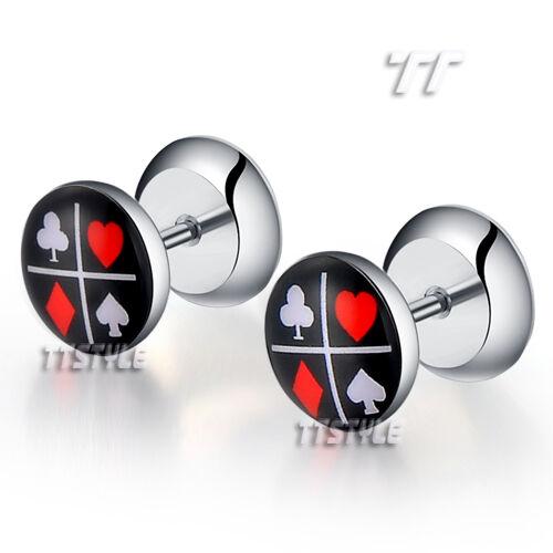 BP12 TT Clear Epoxy Poker Logo Surgical Steel Fake Ear Plug Earrings Body