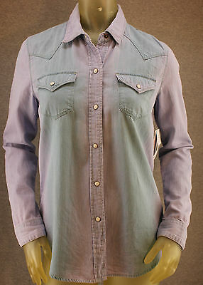 Bullhead Black Ombre Dye Chambray Western Pearl Snap Blue Small Shirt w/ Green