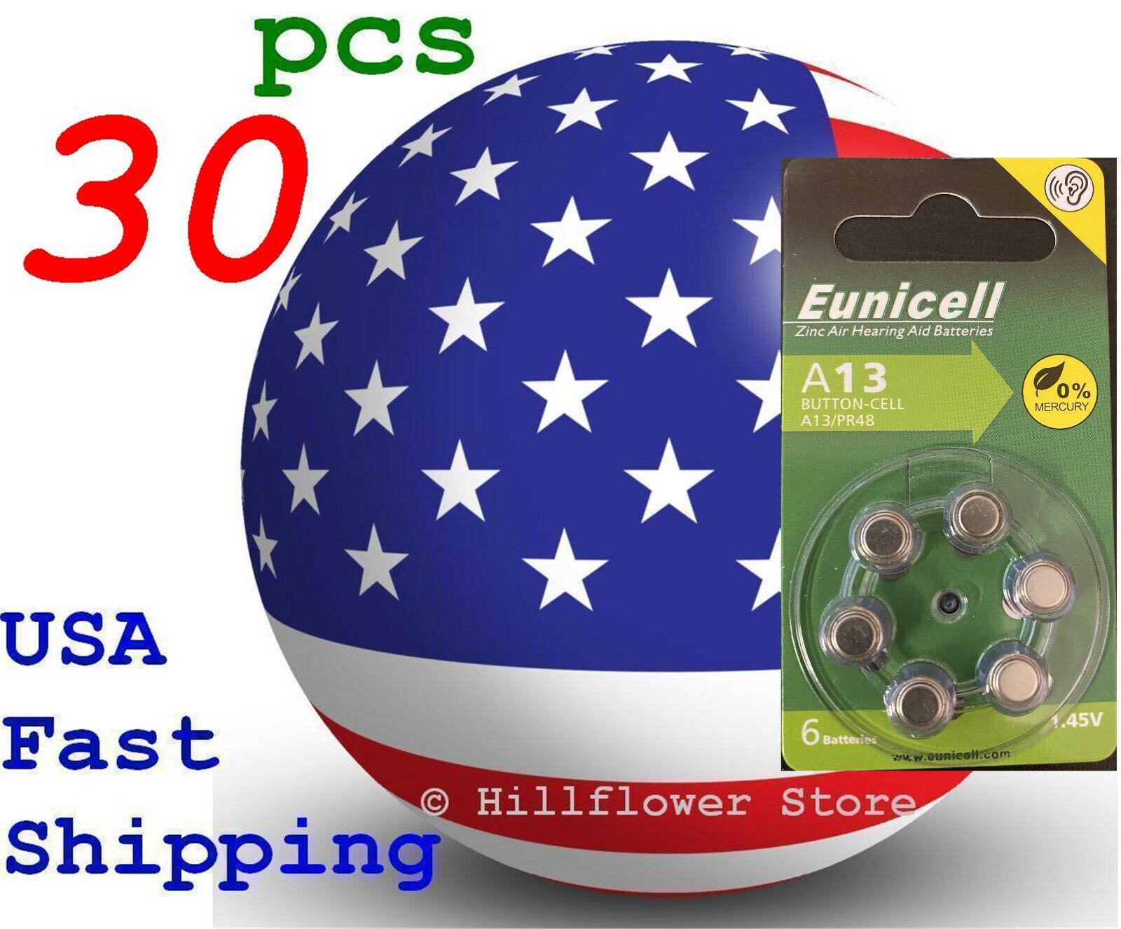 30 pcs A13 13A Size 13 PR48 Card 1.5V Zinc Air Hearing Aid Battery