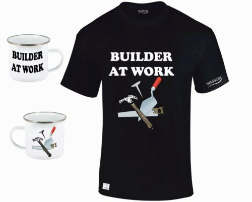 BUILDER AT WORK TSHIRT AND STEEL MUG Birthday Fathers day Xmas Present Gift