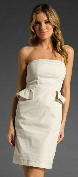 Marc Jacobs white Stretch Cotton Twill Peplum Strapless Dress 10