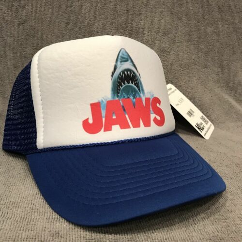 2160 Blue Vintage Style Snapback Cap Jaws Movie Trucker Hat Shark Promo Logo