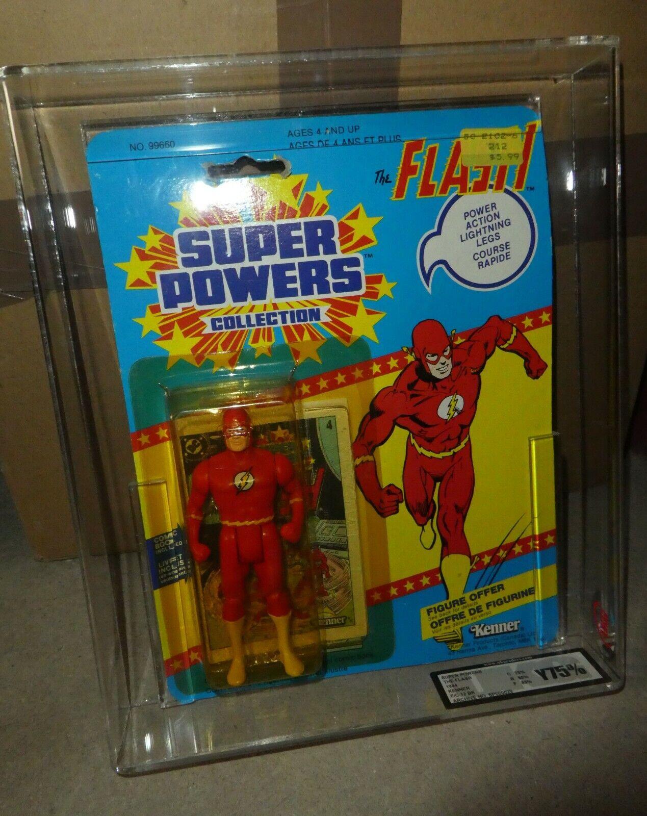DC Comics Super powers vintage Flash Figure Kenner Superman 1985 12 back Graded