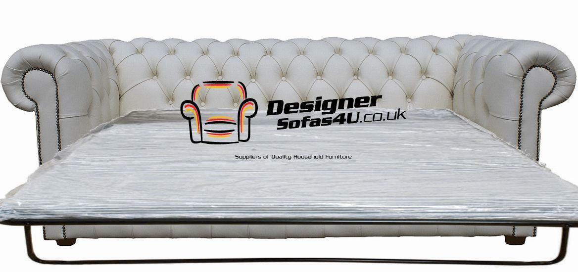 Superb Details About Chesterfield 2 5 Seater Sofa Bed Premium White Leather Sofa Settee Ibusinesslaw Wood Chair Design Ideas Ibusinesslaworg