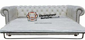 Chesterfield 2.5 Seater Sofa Bed Premium White Leather ...