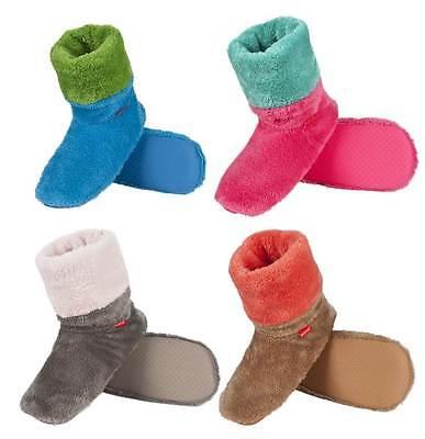Damen Weiches Plüsch Fleece Hi Top Hausschuh Stiefel In 4 Verschiedene Farben &