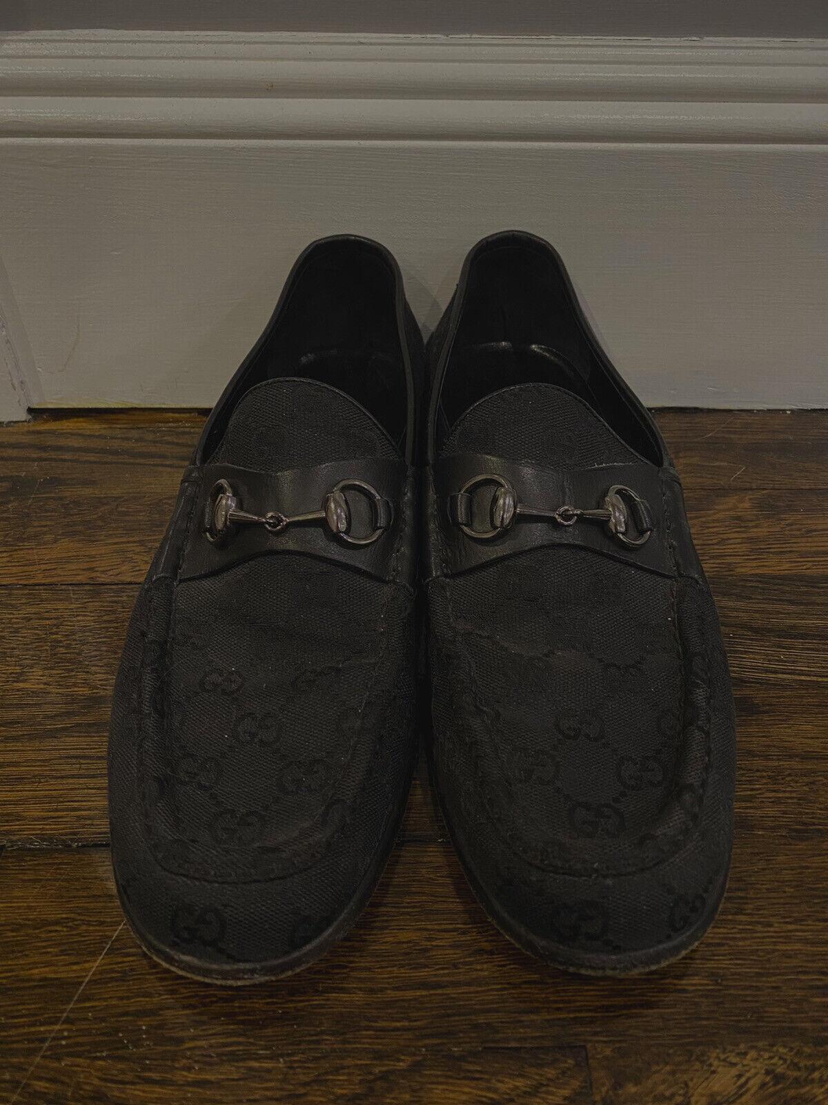 Gucci Loafers Vintage Mens Black Horsebit Classic… - image 1