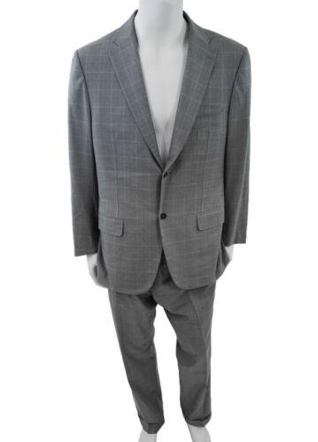 Isaia Size 54 Grey Windowpane Suit Isaia Size 54 G