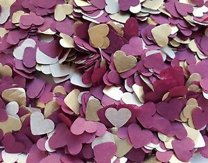 Image Is Loading 2 HANDFULS GOLD BURGUNDY HEARTS CONFETTI WEDDING DECORATION