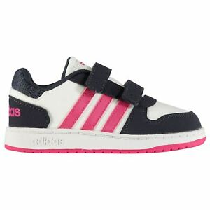 9ce5c65561 Details about adidas Kids Girls Hoops 2.0 Trainers Infant Low Casual Shoes  Cushioned Insole