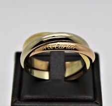 CARTIER 18K TRI-COLOR GOLD 3 BANDS TRINITY ROLLING RING 63 US 10.75