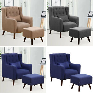 Terrific Details About Wing Back Accent Chair Armchair With Foot Stool Living Room Bedroom Fabric Chair Pabps2019 Chair Design Images Pabps2019Com
