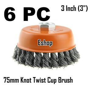 """6 PCS 3/"""" x 5//8/"""" 11 NC FINE Knot Wire Cup Brush Crimped For 4-1//2/"""" Angle Grinder"""