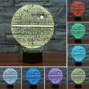 3d Death Star Wars Led Night 7 Color Change Touch Switch
