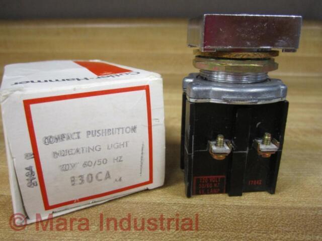 Cutler Hammer E30CA Eaton Compact Push Button W/Indicating Light