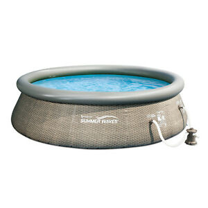 """Summer Waves 12' x 36"""" Quick Set Ring Above Ground Pool with Pump, Grey Wicker"""