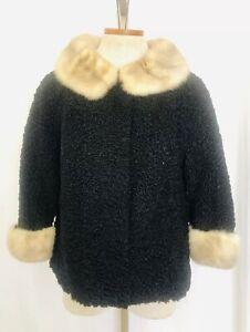 On Sale*** Vintage 1960/'s Black Persian Lamb Coat Mink Collar