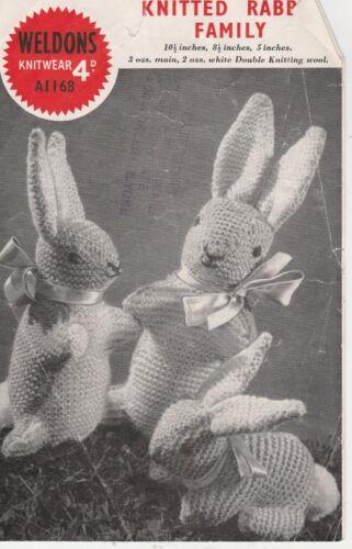Vintage Retro fotocopia Tejer patrón Weldons 1168 de punto conejo familiar