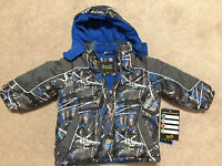 Ixtreme Boy's Fleece Lined Winter Coat W/attached Hood, Blue/gray 18m