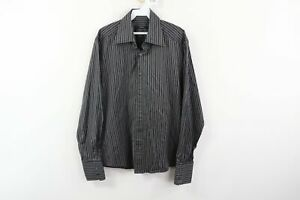 Gucci-Mens-Size-16-41-Striped-Long-Sleeve-Dress-Shirt-Black-Gray-Cotton-Italy