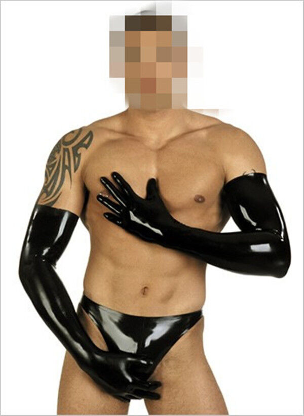 Men Latex Long Moulded Cosplay Black Latex Gloves L,XL (Wrist 17-19cm)
