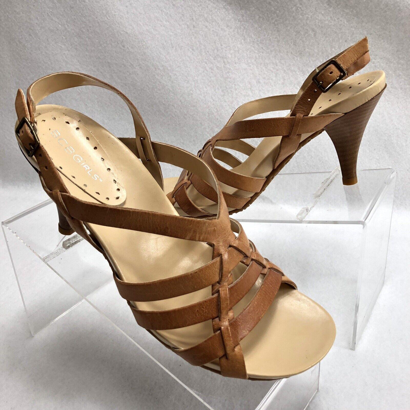 BCBGirls Women's Cognac Leather Sandals Heels Sz 9.5B  Made in Brazil