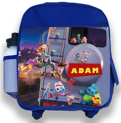 Personalised Kids Blue Backpack Any Name Toy Story Boys Childrens School Bag