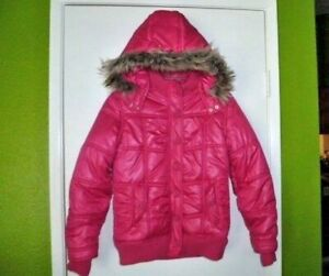 Pink Justice Girls Puffer Coat with Faux Fur Hood