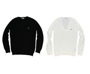 NEW-LACOSTE-MEN-039-S-V-NECK-SWEATER-LONG-SLEEVE-PULL-OVER-SHIRT-BLACK-WHITE