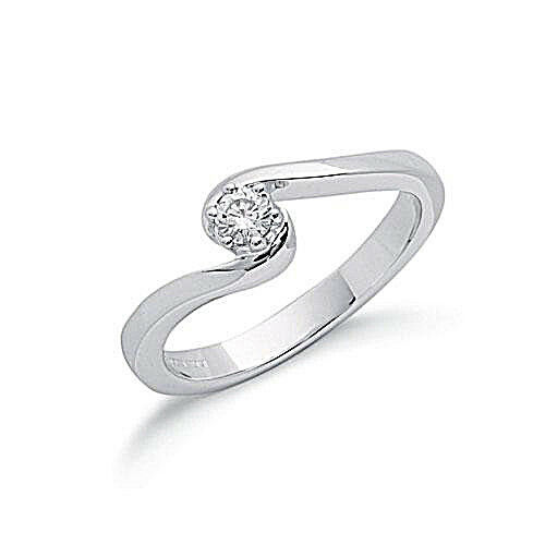 9ct White gold Single Stone Twisted Credver Diamond Ring 0.15ct