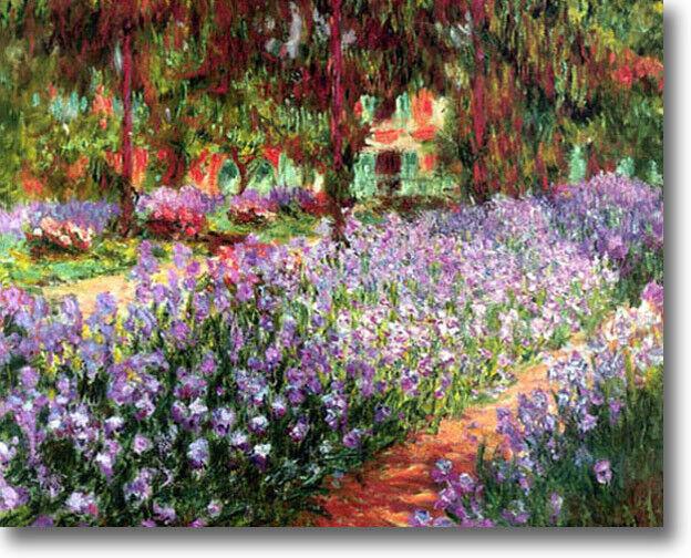 Claude Monet Irises in Monet's Garden STRETCHED CANVAS Giclee Art Repro 16 x 12