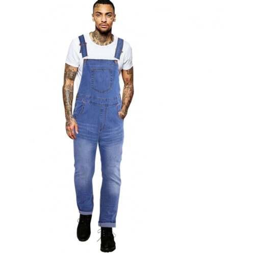 Homme bleu délavé homme denim Dungarees Dungaree Jeans BIB Overalls