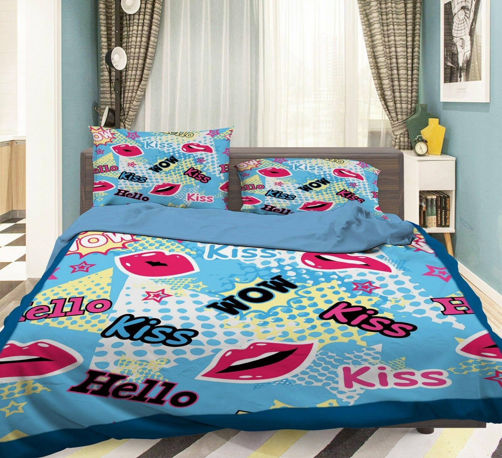 3D Kiss Pattern 77 Bed Pillowcases Quilt Duvet Cover Set Single Queen King CA