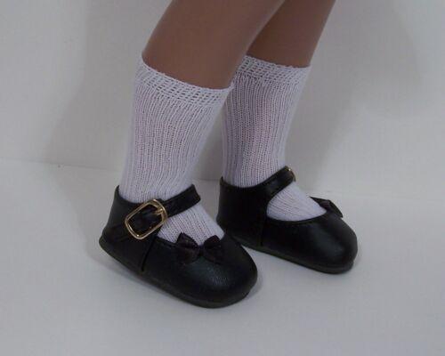 "BLACK Satin Ribbon Sidebow Doll Shoes Fits 16/"" 17/"" Vintage Sasha Debs"