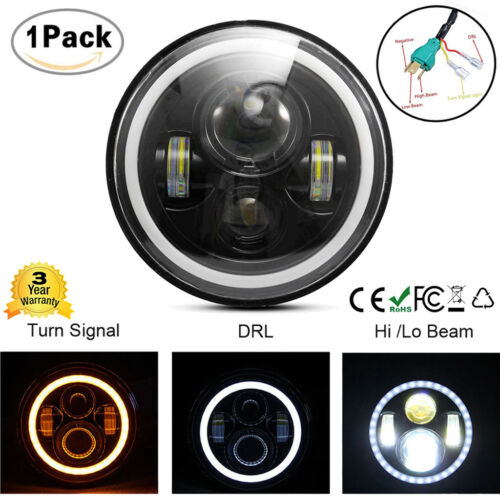1pcs 7Inch LED Headlights 60W Projector Turn Signal DRL for Jeep Wrangler JK TJ