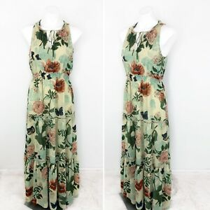 Anthropologie-Maeve-Tiered-Maravilla-Maxi-Dress-Green-Motif-Floral-Size-10