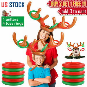 Inflatable-Reindeer-Antler-Hat-amp-Toss-Ring-Kids-Adults-Christmas-Party-Game-Toys